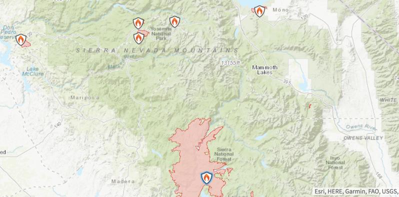 优胜美地国家公园南部受到溪火(Creek Fire)威胁。(截屏自国家公园官网)