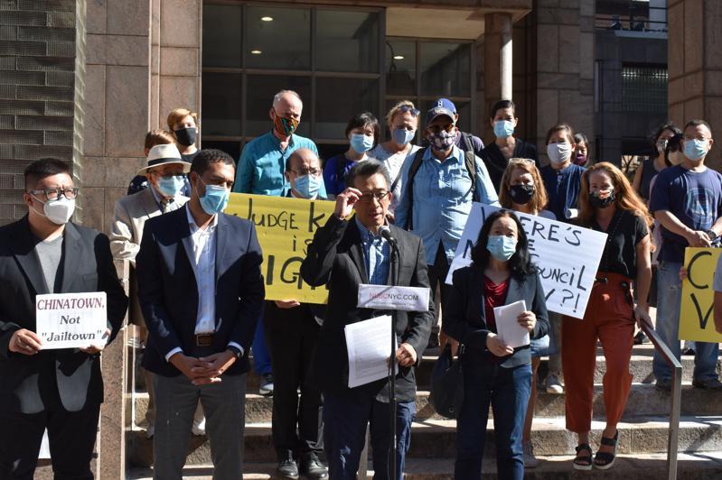 NUBC等多个反监狱组织28日呼吁市府应取消上诉进程,否则社区也将继续抗争到底。(记者颜嘉莹/摄影)