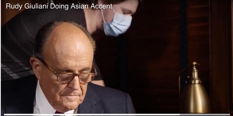 朱利安尼歧视华裔视频不小心泄漏。(视频截屏)