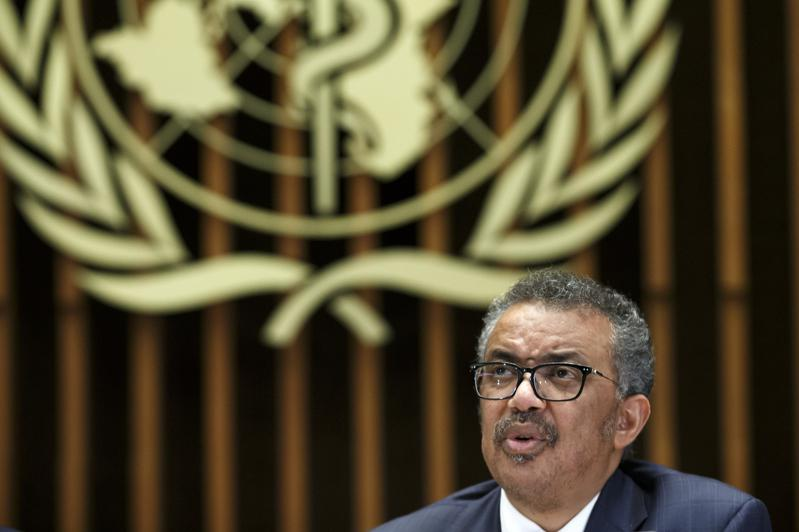世界衛生組織官員承認疫情爆發以來有65位員工確診,但否認總部爆發疫情,圖為世衛秘書長譚德塞。(歐新社)