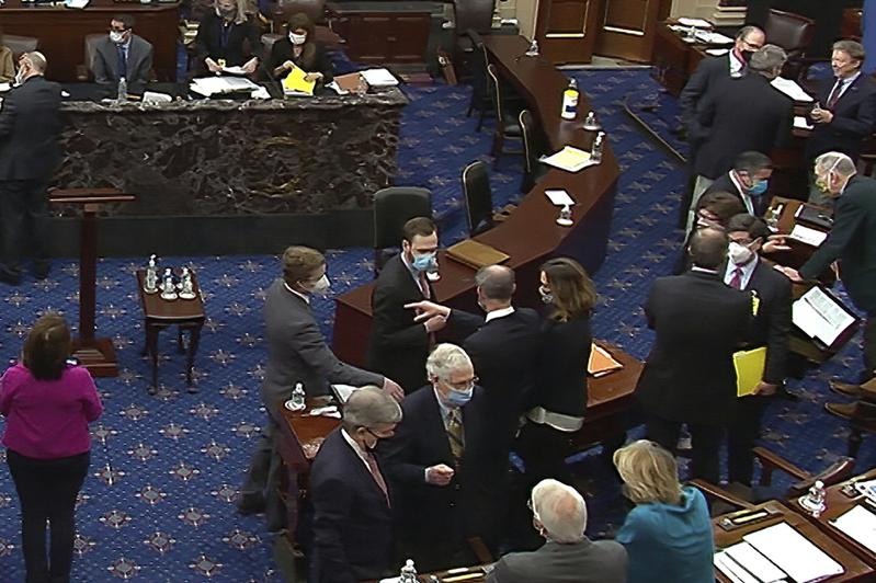 参院二次弹劾川普案,13日最后投票,未能通过门槛而告失败。(美联社)