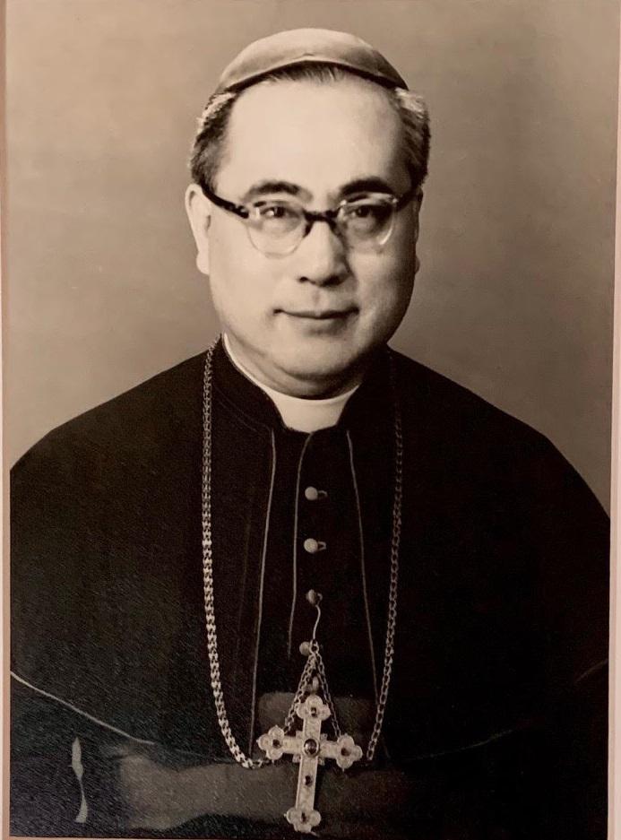 1959年在台北籌建輔仁大學時的于斌總主教。(于德蘭提供)