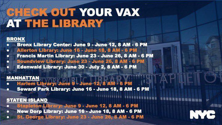 市府宣布将在疫苗接种率较低地区内的十个图书馆外推出移动接种诊所。(市长办公室提供...