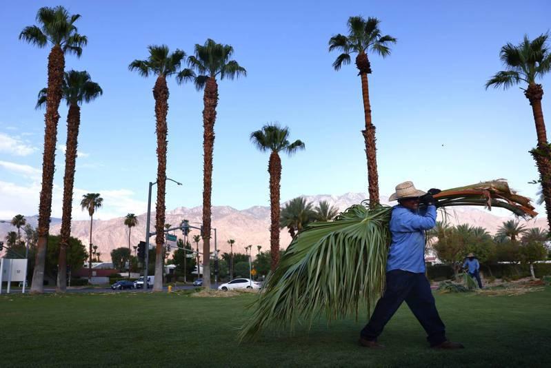 加州近日天氣炙熱,氣溫上百度。圖為在加州棕櫚泉市10日街景,這兩天氣溫將高達華氏...