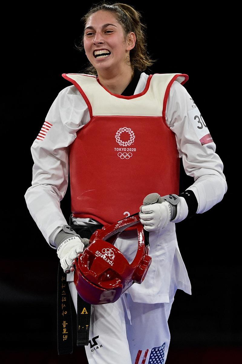 來自佛州的安娜斯塔西亞‧索歐洛提克,年僅18歲,25日東奧羽量級跆拳道項目中,擊...