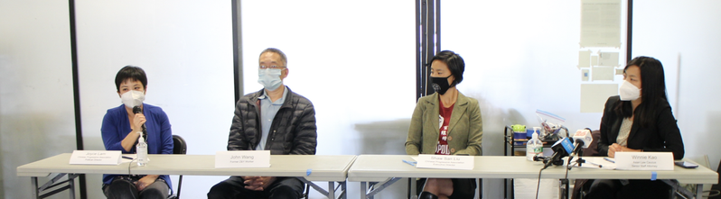 華人進步會政治主任林德樂(左一)、前餐館工人王拓(左二)、華人進步會行政主任劉茂琦(左三)、亞洲法律聯會律師高文儀(右一)。(記者李怡/攝影)