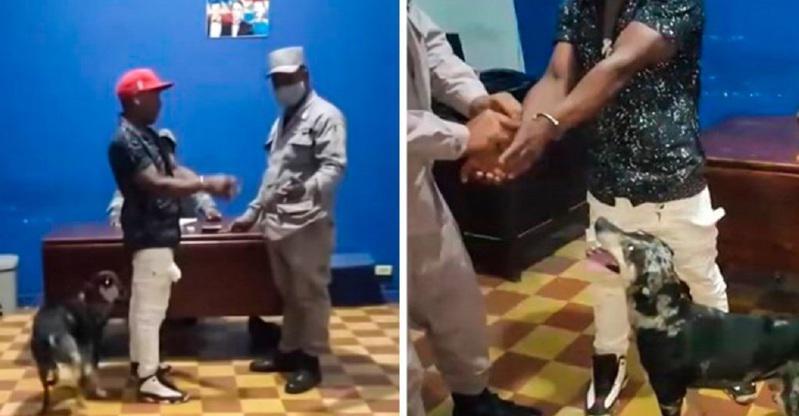 加勒比海的多明尼加共和國頒布防疫宵禁令,一名男子違規被捕後,他飼養的一隻狗狗隨後...