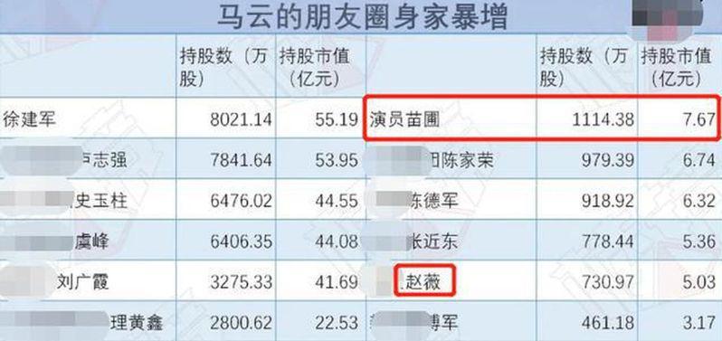 根据网上资料,苗圃持股市值已达到7.67亿元。赵薇也出现在表单中,持股市值有5亿...