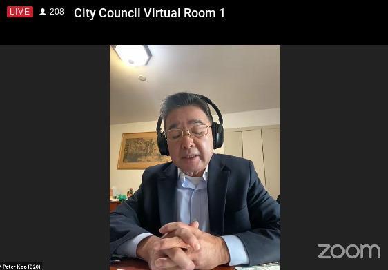顾雅明9日在市计划委员会发言,希望委员会通过「法拉盛滨水项目」。(视频会议截屏)
