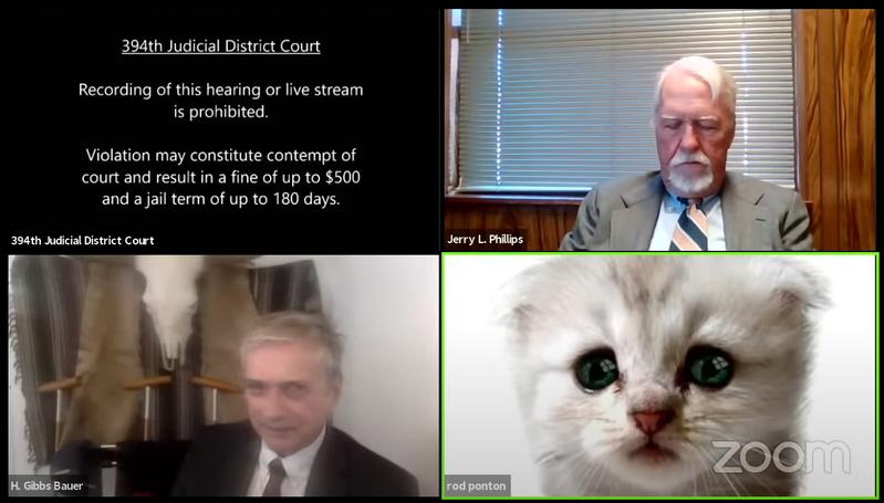 德州一名律师在视讯会议中开到猫咪滤镜。 (截图自YouTube/@394th District Court of Texas)