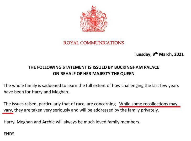 英國白金漢宮9日代女王發布聲明,回應哈利王子與妻子梅根在重磅專訪引爆的種族歧視爭...