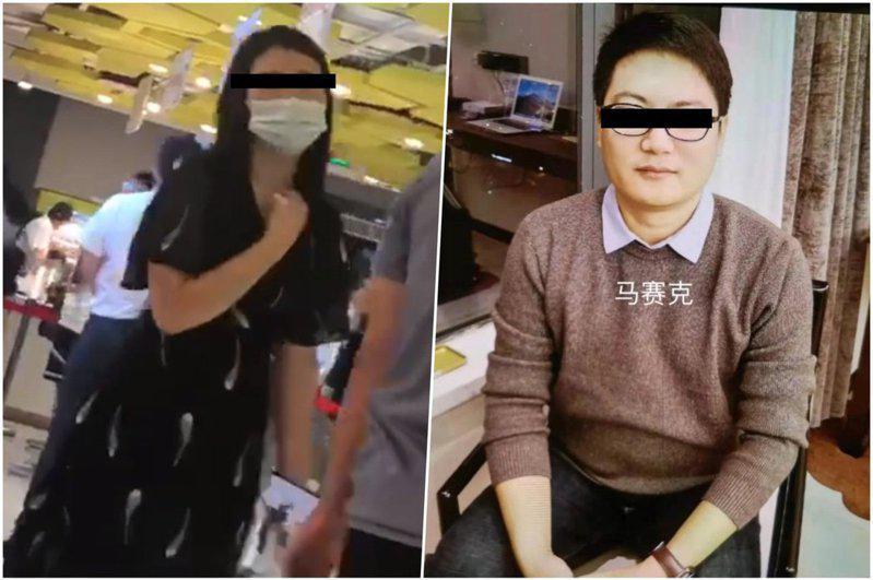左圖為被害人在阿里巴巴食堂發傳單當天,右圖為嫌犯王成文。((取材自微博)